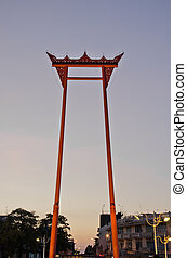 The Giant Swing Sao Ching Cha at twilight in Bangkok,...