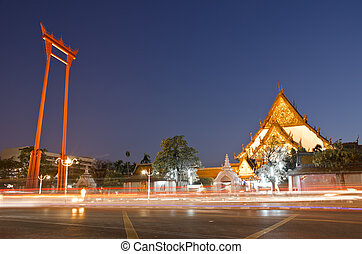 Suthat Temple and the Giant Swing in Bangkok, Thailand