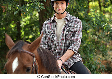 young riding horse