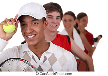 Four young people illustrating different sports