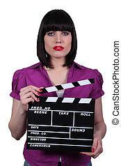 Brunette movie director