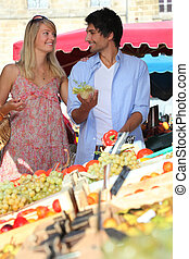 Couple at a market