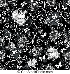 Seamless black-white floral pattern