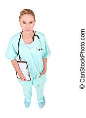 high-angle shot of a nurse