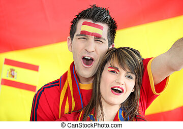 Spanish football fans singing
