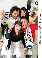 German football fans at home
