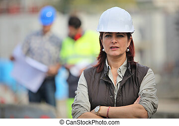 Woman on a construction site