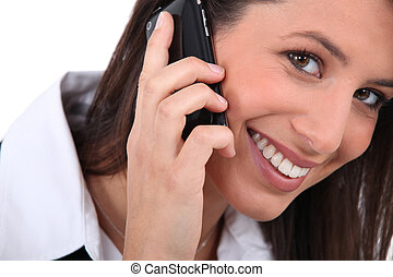 Woman talking on her mobile phone