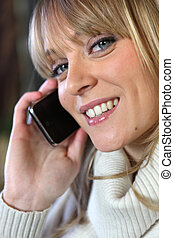 cute woman on the phone