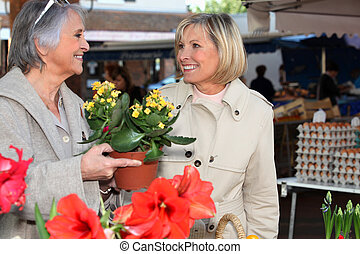 Older women shopping for plants