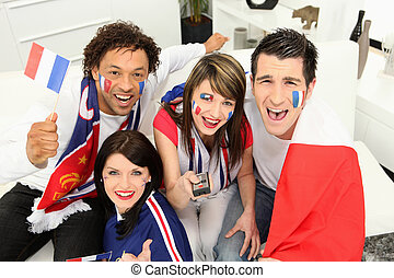 Excited french football fans