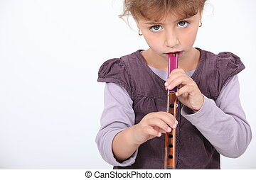 little damsel playing flute