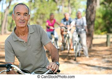 Man riding his bicycle