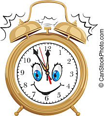 alarm clock - smiling clock face - time is money, happy time...