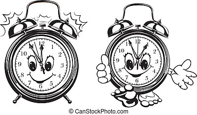 two alarm clocks - black and white - clock face, it`s time...