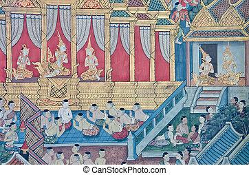 Thai Mural Painting in sanctuary, Wat Pho Temple, Bangkok,...