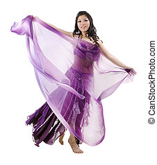 Asian Belly dancer on white background