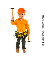 Happy boy raising hammer - Happy kid boy raising one of...