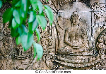 Buddha, piedra, tallado