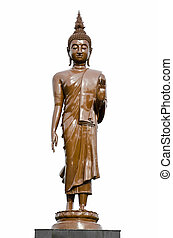 Standing Buddha statue isolated on a white background