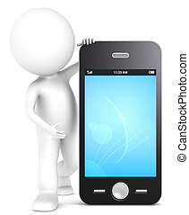Smart Phone. - 3D little human character with a Smart Phone....