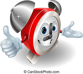 Cute cartoon character alarm clock giving a thumbs up