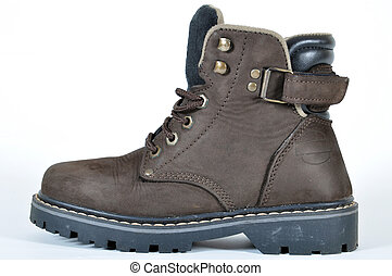 Hiking boot - A brown leather hiking boot on a white...