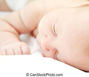Cute little baby sleeping - Closeup portrait of cute little...