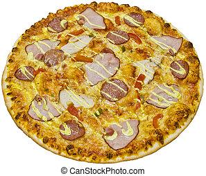Salami pizza with ham