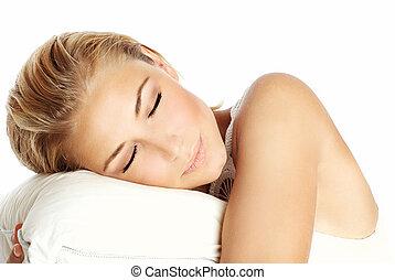 Sleeping girl - Young beautiful sleeping girl, lying on the...