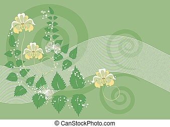 Green background with flowers and butterfly. Banner