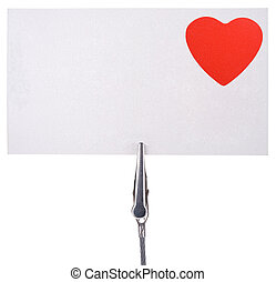 blank card  with a red heart