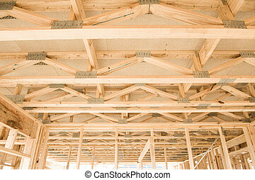 New home construction framing.Fragment. - New residential...