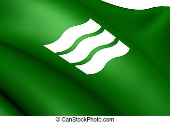 Flag of Hiroshima City, Japan Close Up