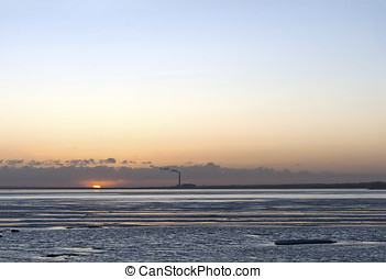 Sunset over the Frozen Bay