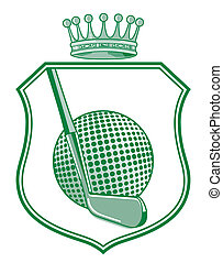 Shield with golf ball and crown