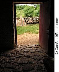 stone floor - Natural light falling through an open door...