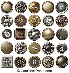 Vintage buttons - Vintage metal sewing buttons collection