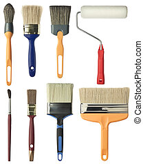 Painting tools. Brushes and roller.