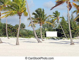 land for sale - image of a beach with a white affiche