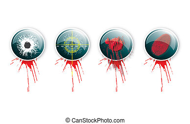 Crime Buttons 4 - A set of four round glass effect buttons...