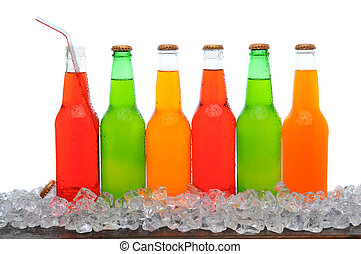 Line of Soda Bottles - A line of assorted soda bottles...