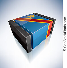 3D flag of Congo