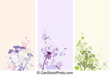 Floral grunge banners