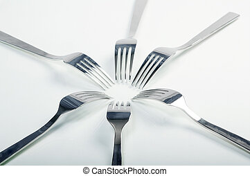 abstract fork background as a food concept Shallow...