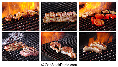 Food set cooking meat barbecue collage prepared on the...