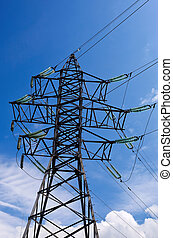 alto, Voltagem, electricidade, pylon