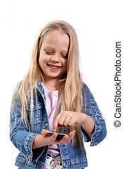 girl with a touchscreen phone