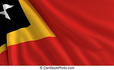 Flag of Timor Leste - A flag of Timor Leste in the wind