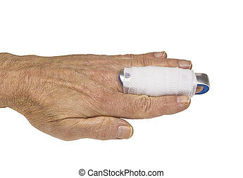 finger splint - mans hand with a splint on the middle finger